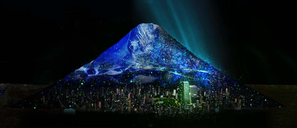 東京ミッドタウンと富士山の出会い