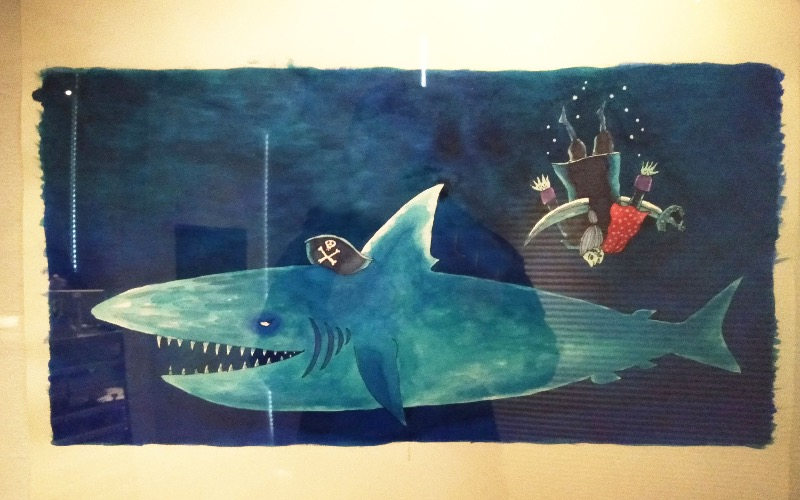 下田昌克の絵本「死んだかいぞく」原画展の画像